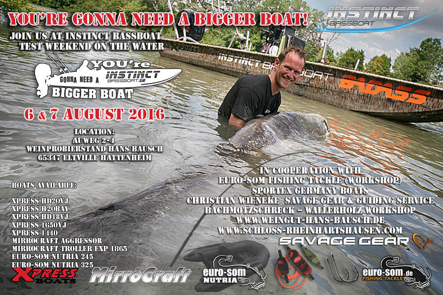 Выставка лодок и рыболовных снастей для ловли сома